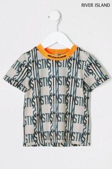 River Island Beige Print Mesh T-Shirt