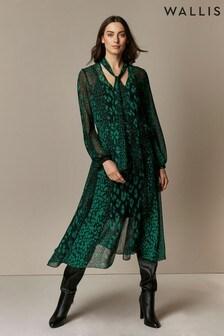 Wallis Green Animal Print Midi Dress