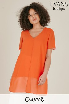 Evans Curve Orange V-Neck Split Front Top