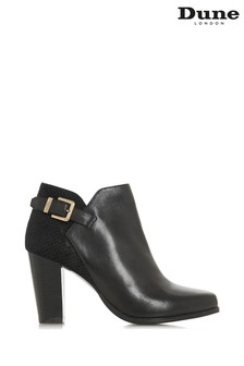 Dune London Oleria Black Leather Mix Mixed Upper Ankle Boots
