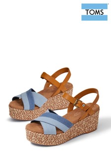 TOMS Denim Blue Willow Cross Strap Wedges