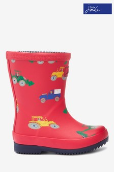 Joules Red Baby Boys Print Wellies