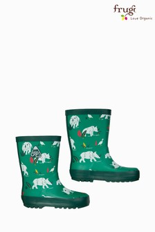 Frugi Green Rhino Print Welly
