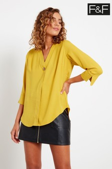 F&F Yellow One Button Pullover Top