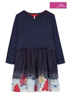 Joules Blue Merrie Printed Border Dress