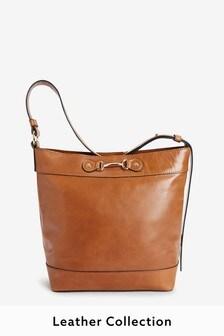 Signature Leather Hardware Bucket Bag