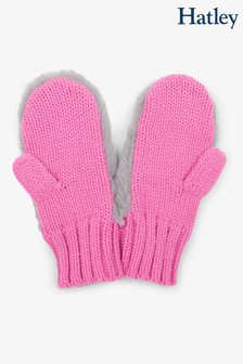 Hatley Pink Faux Fur Mittens