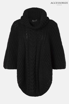 Accessorize Black Cable Knit Poncho