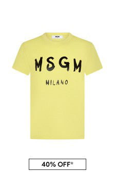 MSGM Kids White Cotton T-Shirt
