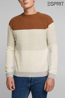 Esprit Camel Men Long Sleeve Sweater