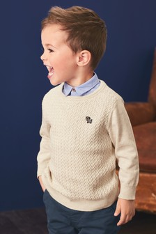 Mock Collar Textured Jumper (3mths-7yrs)