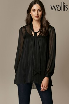 Wallis Black Lurex Tie Neck Blouse