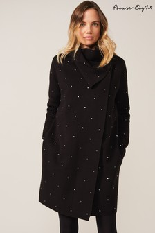 Phase Eight Black Paloma Scattered Stud Coatigan