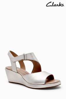Clarks Metallic Unplaza Slingback Wedge
