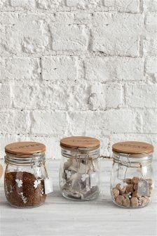 Set of 3 Clip Top Storage Jars