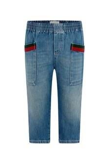 GUCCI Kids Boys Blue Bleached Denim Jeans