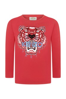 Boys Red Cotton Long Sleeve T-Shirt