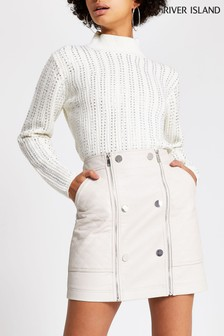 River Island Bone Quilted Button Skirt