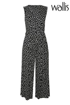 Wallis Petite Monochrome Spot Print Culotte Jumpsuit