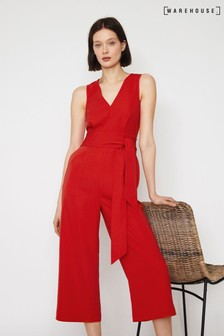Warehouse Red V-Neck Open Back Jumpsuit