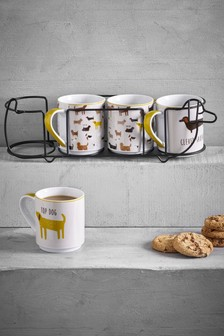 Set of 4 Dog Mugs And Stand