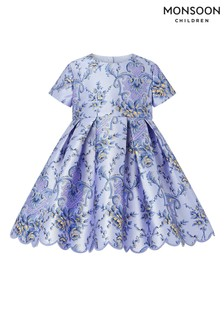 Monsoon Blue Baby Damask Dress