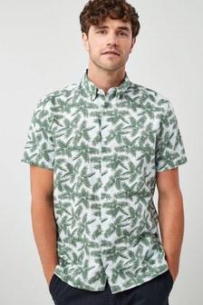 Chemise à manches courtes et imprimé palmier