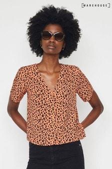 Warehouse Orange Leopard Print Blouse