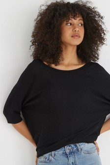 Oliver Bonas Black Gathered Back Knitted Top