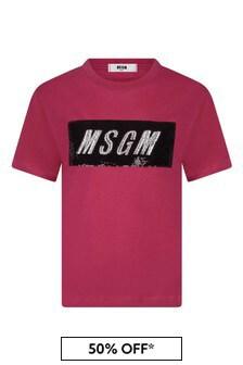 Girls Fuchsia Cotton Sequins Logo T-Shirt
