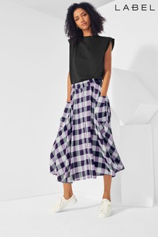 Next/Mix Gingham Midi Skirt