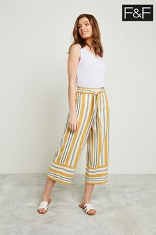 F&F Yellow Stripe Crop Wide Leg Trouser