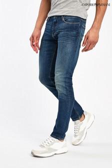 Džínsy úzkeho strihu s vypratým efektom Emporio Armani J06