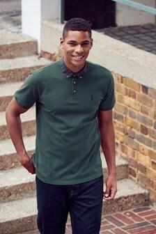 Рубашка поло классического кроя с текстильным воротником