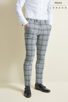 Moss London Slim Fit Black Check Trousers