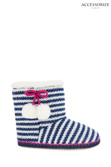 Accessorize Blue Nautical Stripe Knitted Boots