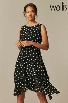 Wallis Petite Black Spot Hanky Hem Dress