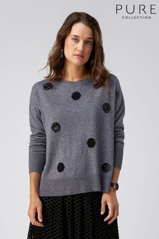 Pure Collection Grey Relaxed Split Hem Sweater