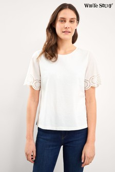 White Stuff White Belle Broderie Cuff T-Shirt