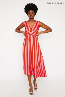 Warehouse Red Candy Stripe Midi Dress