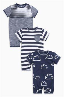 雲與條紋短連身褲三件裝 (0个月-2岁)