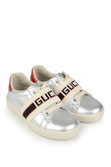 Silver Leather Ace Trainers