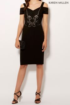 Karen Millen Black Geometric Embellishment Collection Dress