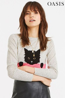 Oasis Natural Shadow Cat Jacquard Jumper