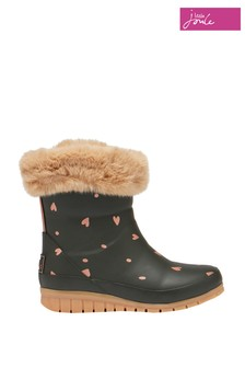 Joules Green Junior Chiltern Faux Fur Tipped Wellies