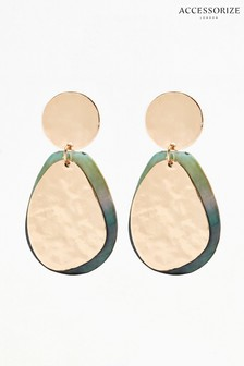 Accessorize Green Shell And Beaded Disc Drop Earrings