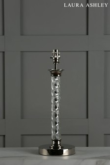 Chrome Louis Twisted Glass Polished Nickel Column Table Lamp Base