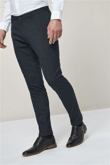 Skinny Fit Check Trousers