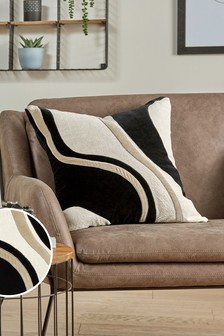 Black Velvet and Linen Look Abstract Cushion