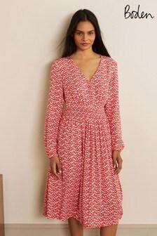 Boden Red Susannah Smocked Dress